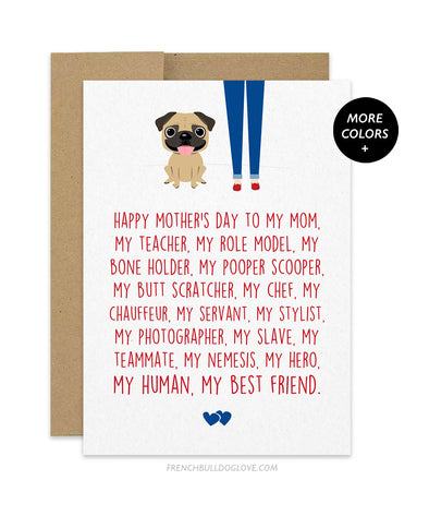 Mom Servant - Pug Mother's Day Card