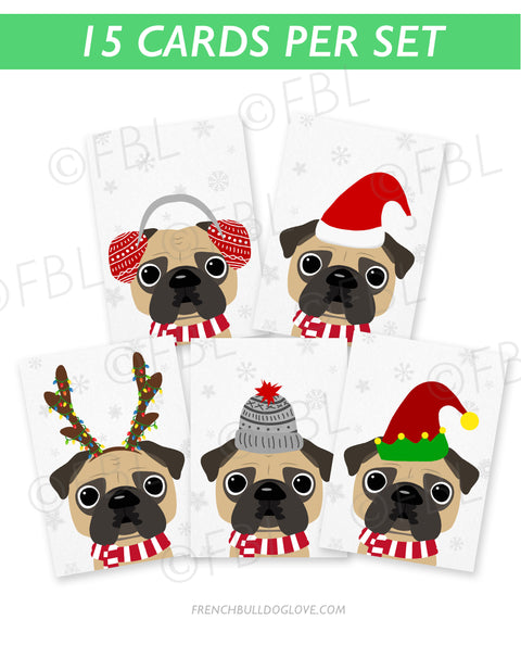 Pug - Festive Pups - 15 Card Holiday Box Set