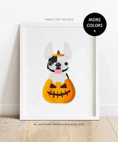 Frenchie O' Lantern - French Bulldog Halloween Print 8x10