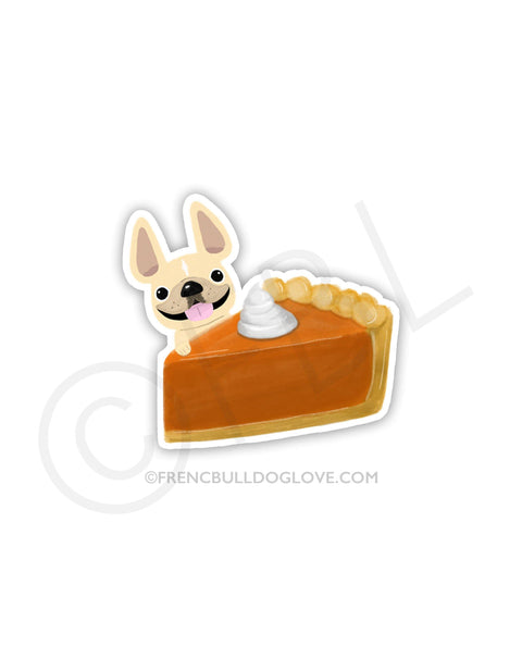 #100DAYPROJECT 55/100 - PUMPKIN PIE VINYL FRENCH BULLDOG STICKER
