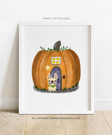 Hey Pumpkin - French Bulldog Halloween Print 8x10