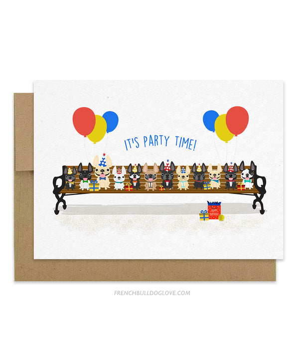 Puppy Party French Bulldog Birthday Card