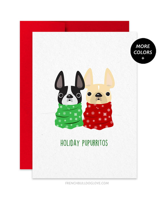 Holiday Pupurritos French Bulldog Holiday Card