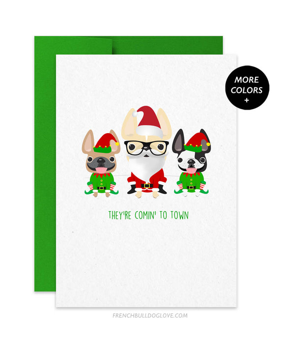Comin' To Town French Bulldog Holiday Christmas Card