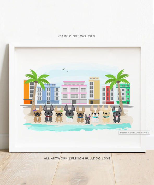 South Beach Frenchies Art Print 8x10