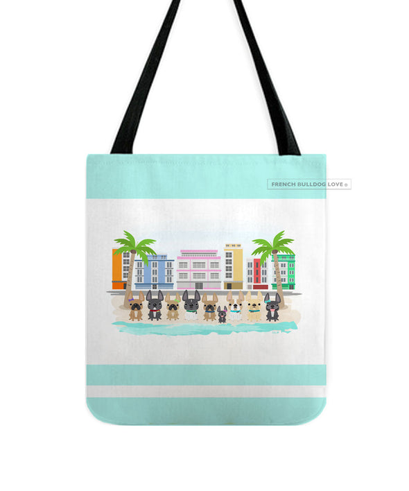 South Beach Frenchies French Bulldog Tote Bag