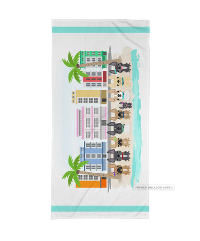 South Beach Frenchies / French Bulldog Beach Towel