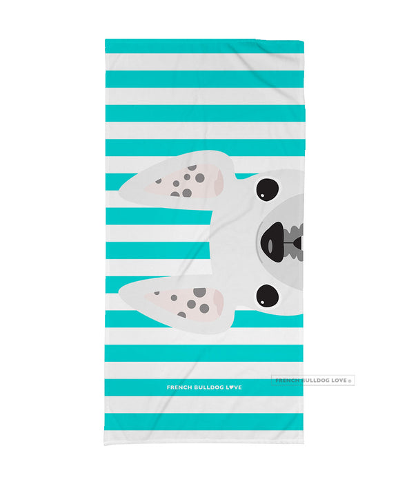White Spotted / Striped French Bulldog Beach Towel