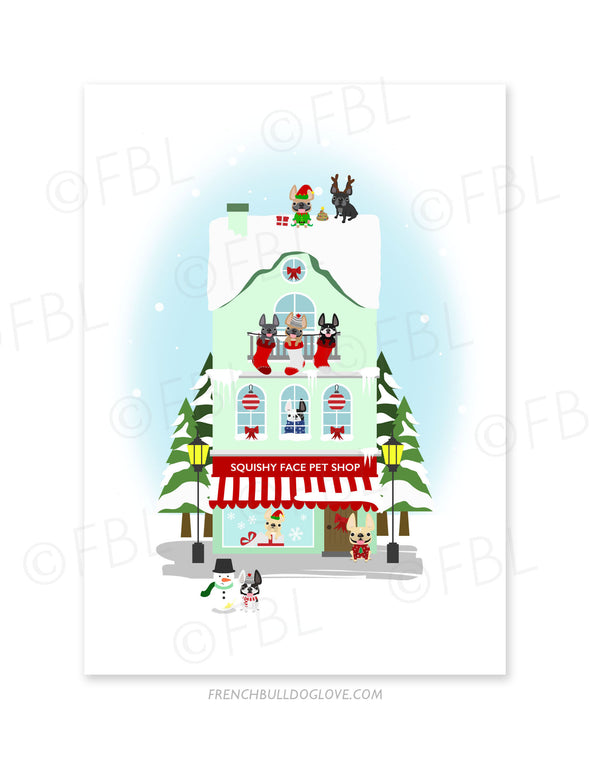 Miracle on Frenchie Street Squishy Face Pet Shop Holiday Christmas Card - French Bulldog Love