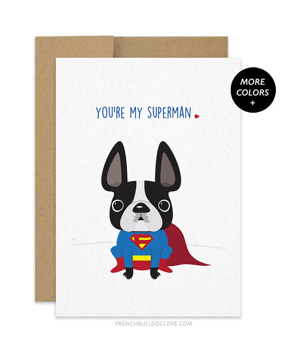 Superman - French Bulldog Greeting Card