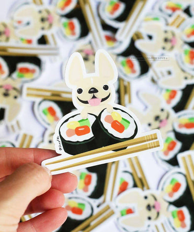 SUSHI STICKER - WATERPROOF VINYL FRENCH BULLDOG STICKER