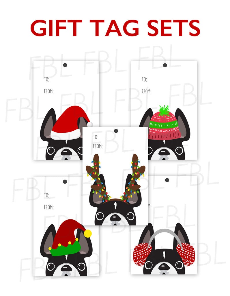 Festive Frenchies Gift Tag Set - French Bulldog Holiday Tags - French Bulldog Love - 2