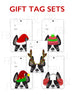 Festive Frenchies Gift Tag Set - French Bulldog Holiday Tags - French Bulldog Love - 4