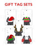 Festive Frenchies Gift Tag Set - French Bulldog Holiday Tags - French Bulldog Love - 6