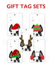 Festive Frenchies Gift Tag Set - French Bulldog Holiday Tags - French Bulldog Love - 7