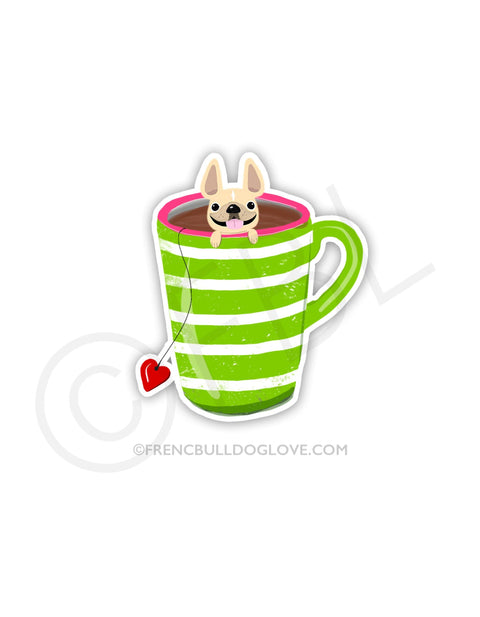 #100DAYPROJECT 41/100 - TEA CUP VINYL FRENCH BULLDOG STICKER