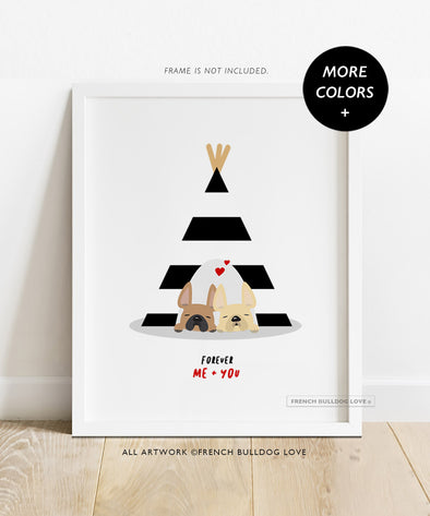 Teepee Love - French Bulldog Custom Print 8x10
