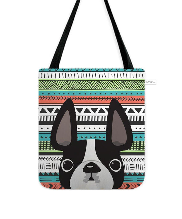 Black & White / Geometric French Bulldog Tote Bag