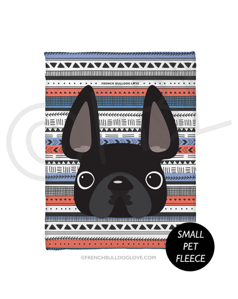 Black / Geometric French Bulldog Fleece Blanket - Small