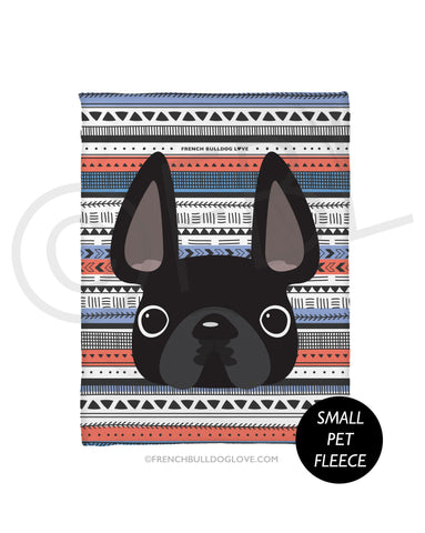 Black / Geometric French Bulldog Fleece Blanket - Small - French Bulldog Love