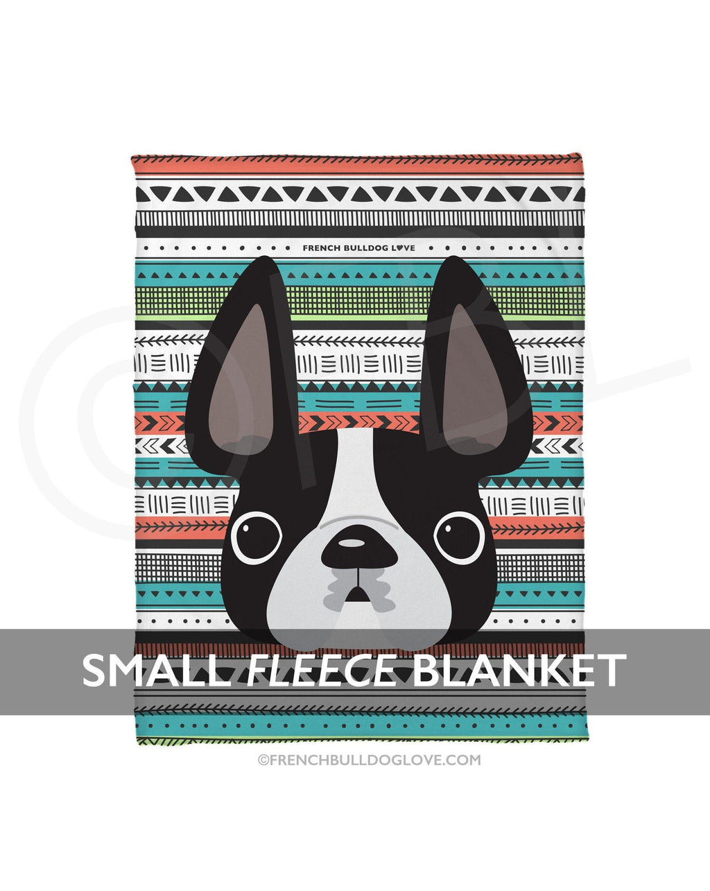 Black & White / Geometric French Bulldog Fleece Blanket - Small - French Bulldog Love - 1