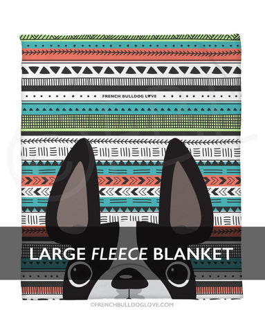 Black & White / Geometric French Bulldog Fleece Blanket - Large - French Bulldog Love