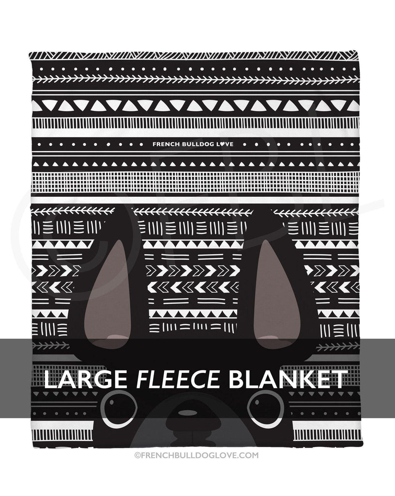 Black Mono / Geometric French Bulldog Fleece Blanket - Large - French Bulldog Love