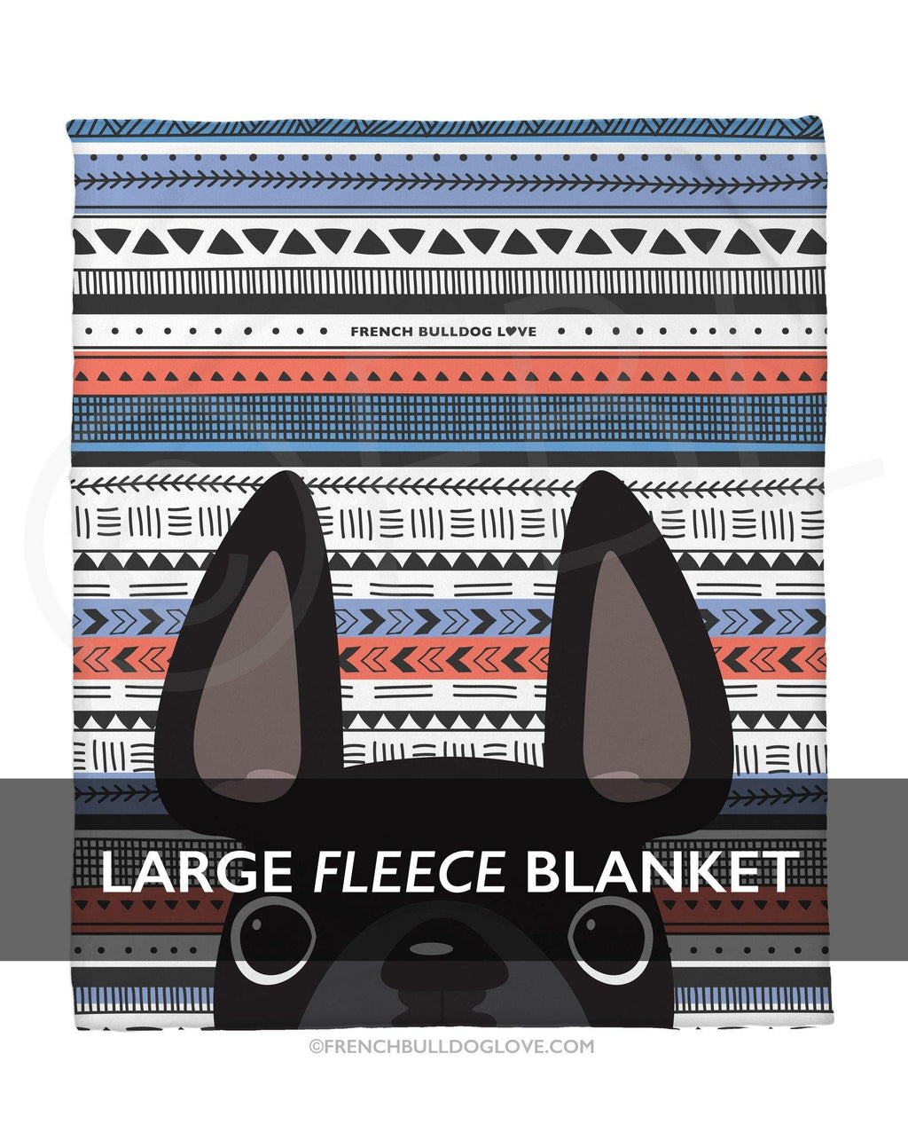 Black / Geometric French Bulldog Fleece Blanket - Large - French Bulldog Love
