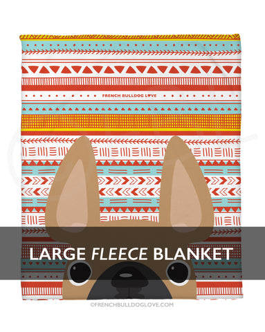 Fawn / Geometric French Bulldog Fleece Blanket - Large - French Bulldog Love
