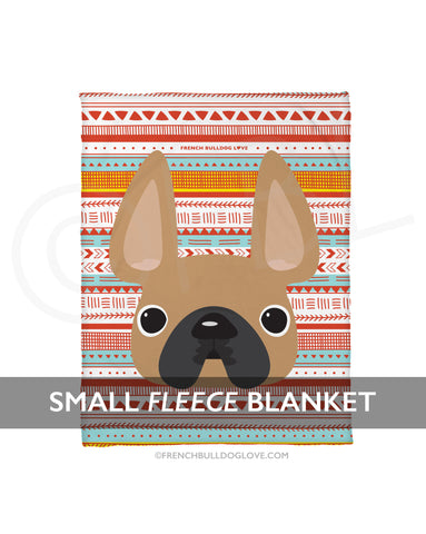 Fawn / Geometric French Bulldog Fleece Blanket - Small - French Bulldog Love