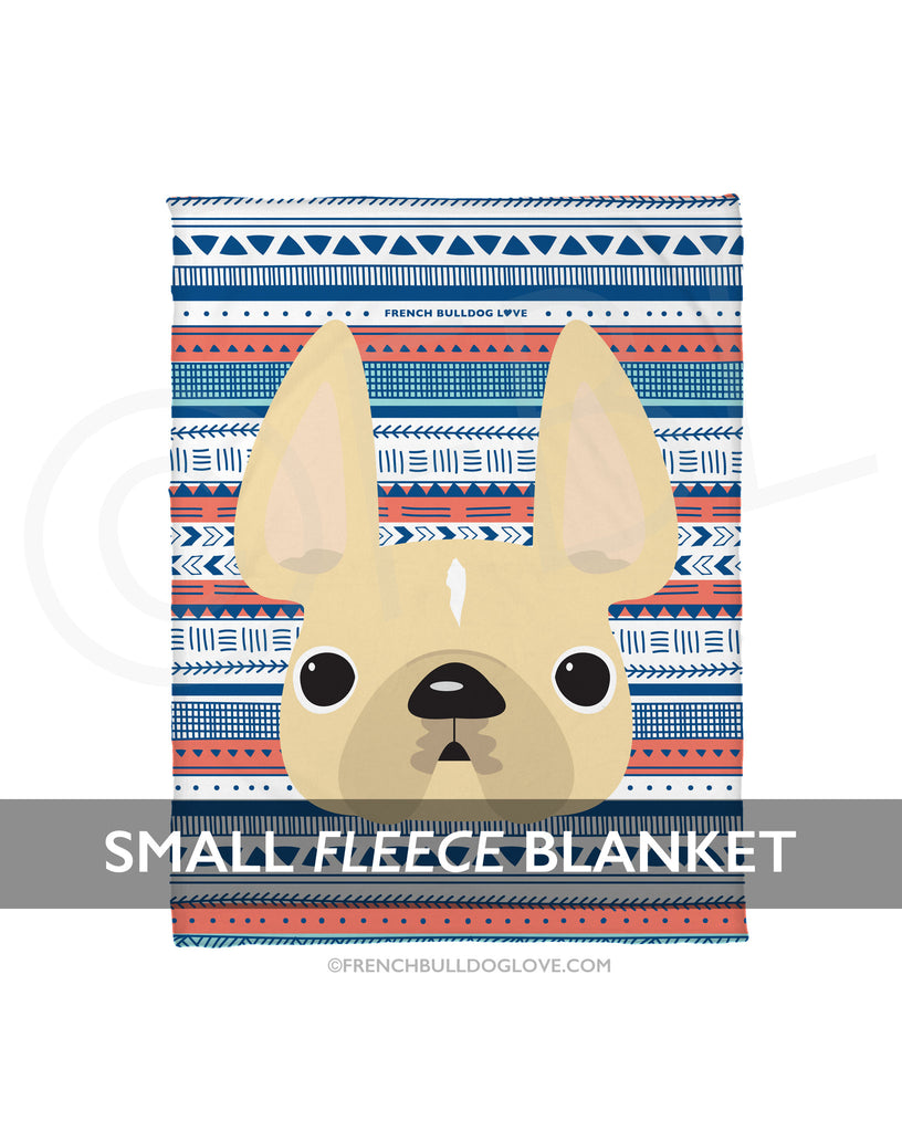 Cream / Geometric French Bulldog Fleece Blanket - Small - French Bulldog Love - 1