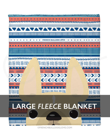 Cream / Geometric French Bulldog Fleece Blanket - Large - French Bulldog Love