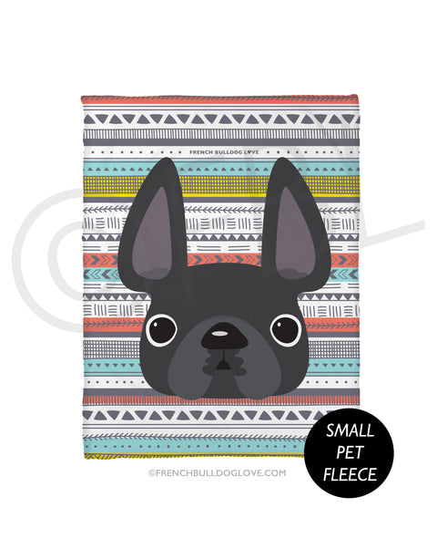 Grey / Geometric French Bulldog Fleece Blanket - Small