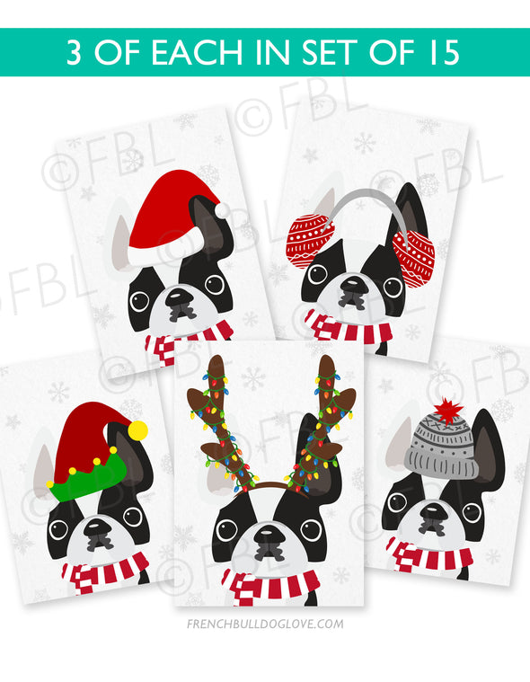 Festive Frenchies 15 Card Holiday Box Set - French Bulldog Love - 14