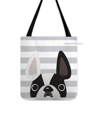 Black&White Pied Too / Striped French Bulldog Tote Bag