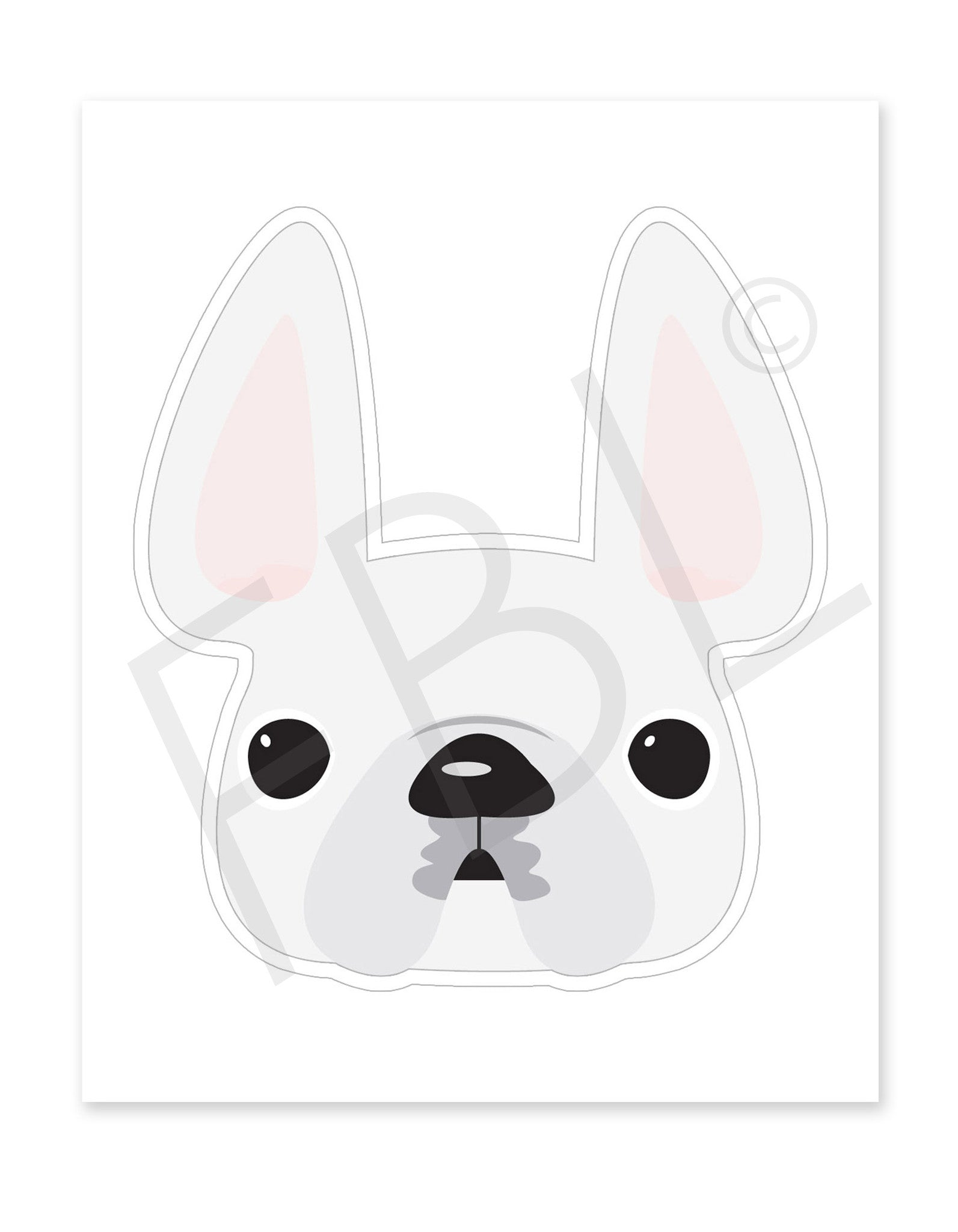 White / Large French Bulldog Sticker