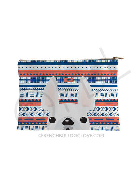 White / Geometric French Bulldog Pouch - French Bulldog Love - 1