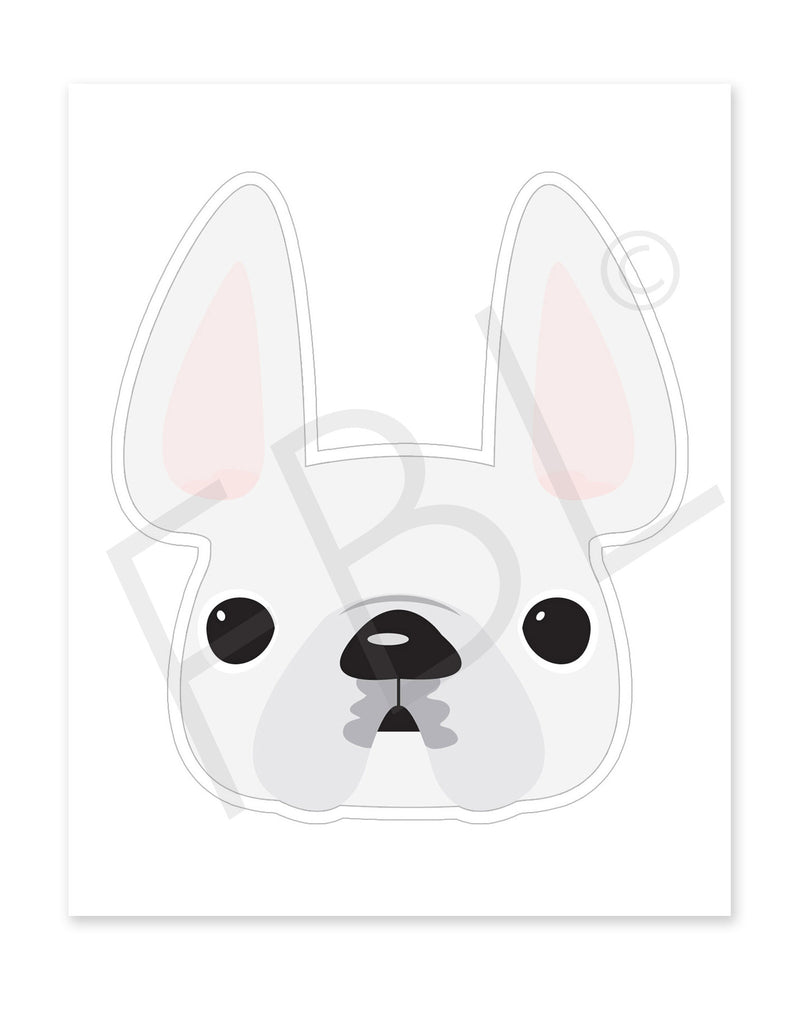 White / Large French Bulldog Sticker - French Bulldog Love