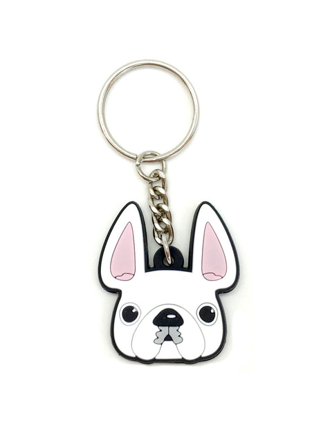 Frenchie Face Mini Keychain / White - French Bulldog Love - 1