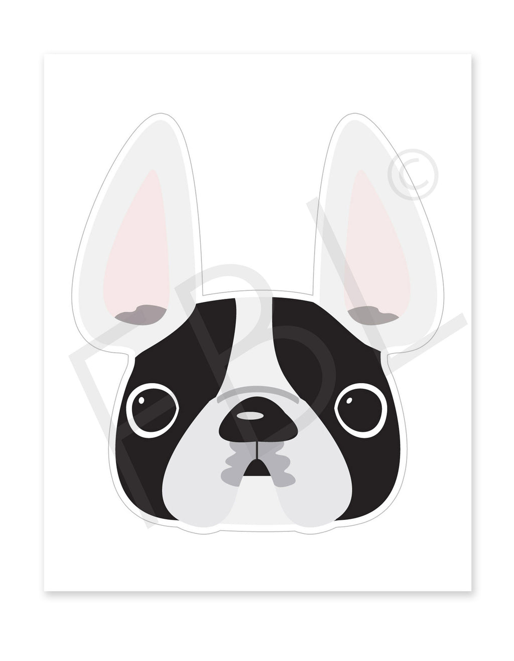 White & Black Pied / Large French Bulldog Sticker - French Bulldog Love
