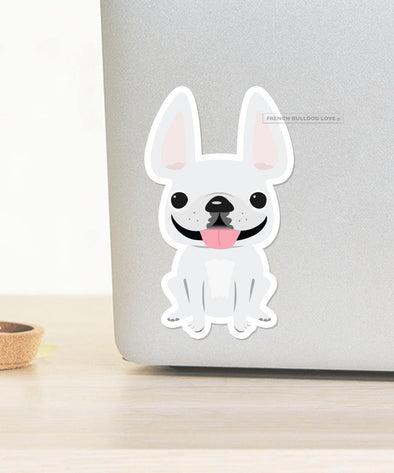 LARGE FRENCHIE STICKER - ALL WHITE - WATERPROOF VINYL