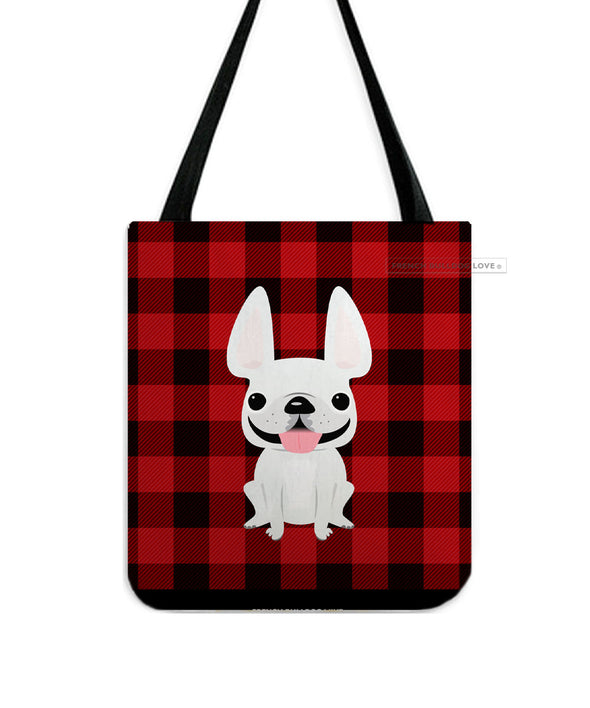 Plaid Tote Bag - All White French Bulldog Tote Bag