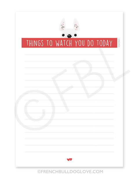 Spotted White / Creeping French Bulldog Notepad