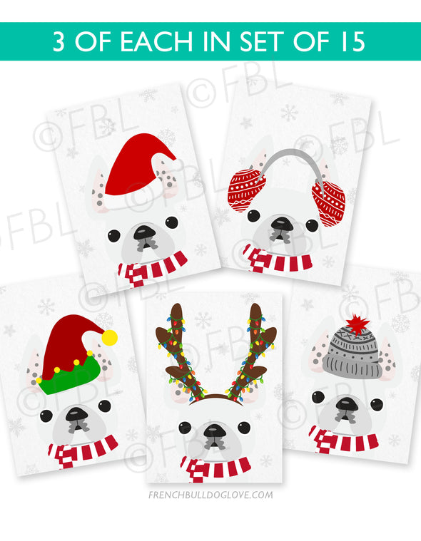 Festive Frenchies 15 Card Holiday Box Set - French Bulldog Love - 16