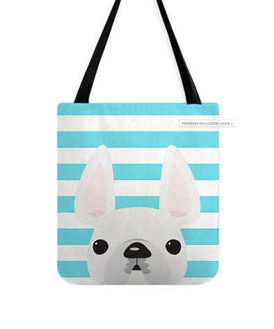 White / Striped French Bulldog Tote Bag