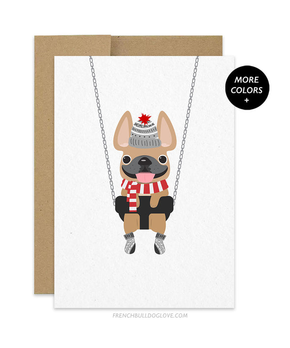 Swing Winter Away French Bulldog Holiday Card