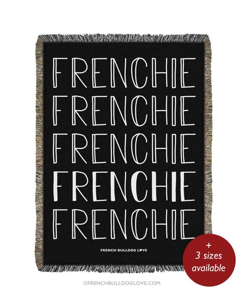 FRENCHIE Woven Blanket - Black - 100% Cotton
