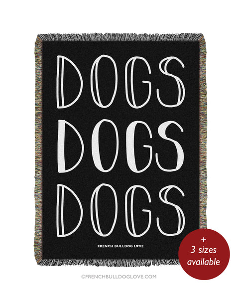 DOGS Woven Blanket - Black - 100% Cotton