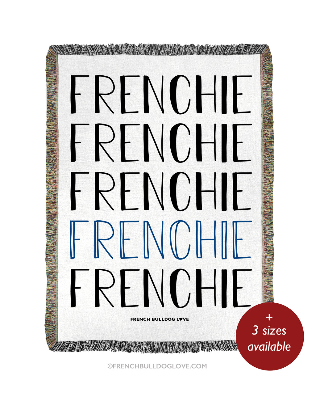 FRENCHIE Woven Blanket - Natural/Navy- 100% Cotton