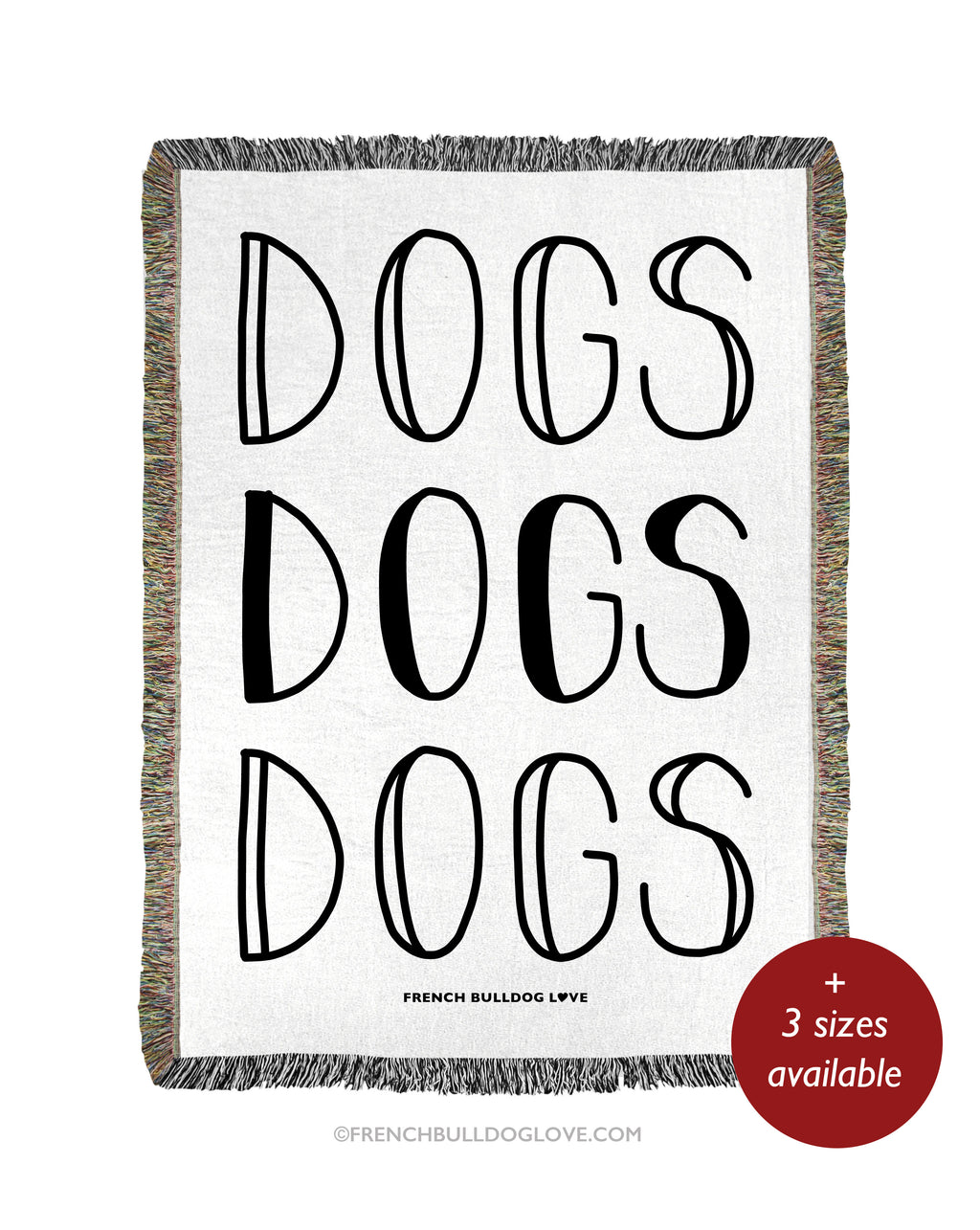 DOGS Woven Blanket - Natural - 100% Cotton